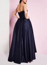 Strapless Satin Ball Gown, Blue, hi-res