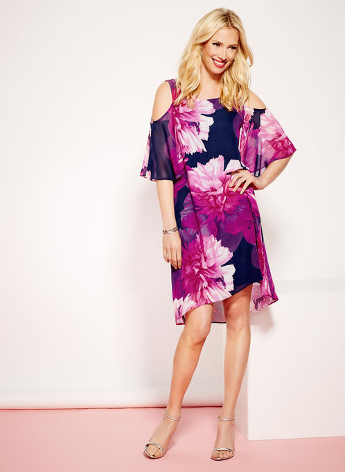Cold Shoulder Floral Print Dress, Pink, hi-res