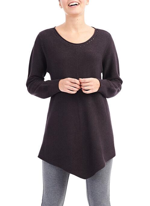 Mitered Rib Tunic Sweater, Grey, hi-res