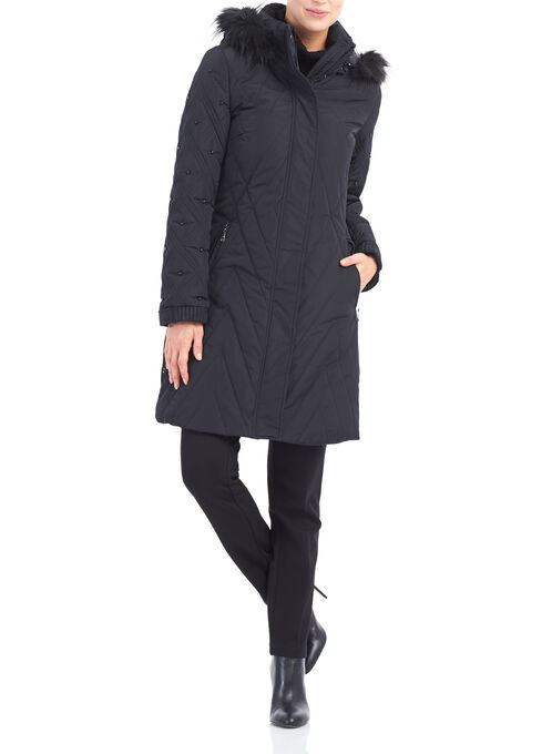 Novelti Faux Fur Thinsulate™ Coat , Black, hi-res
