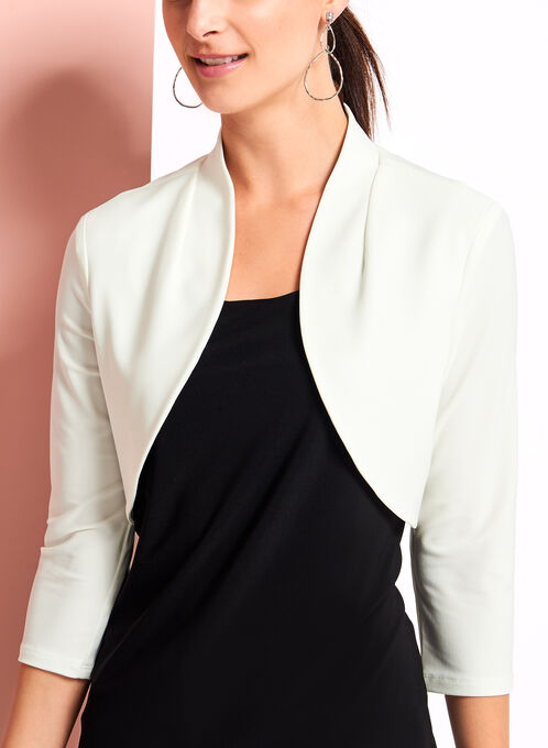 Jersey Stand Collar Bolero, Off White, hi-res