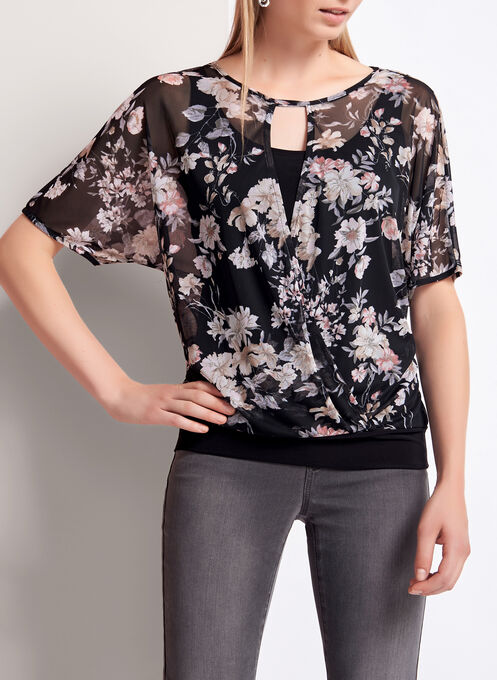 Floral Print Faux Wrap Blouse , Black, hi-res