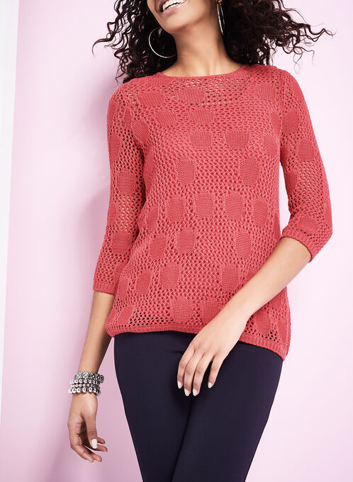 Pointelle Sweater with Matching Tank, Red, hi-res