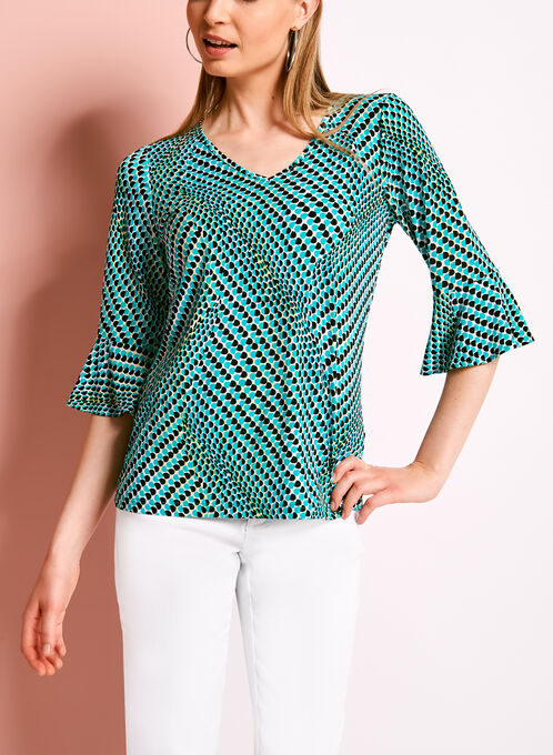 Graphic Dot Print Bell Sleeve Top, Blue, hi-res