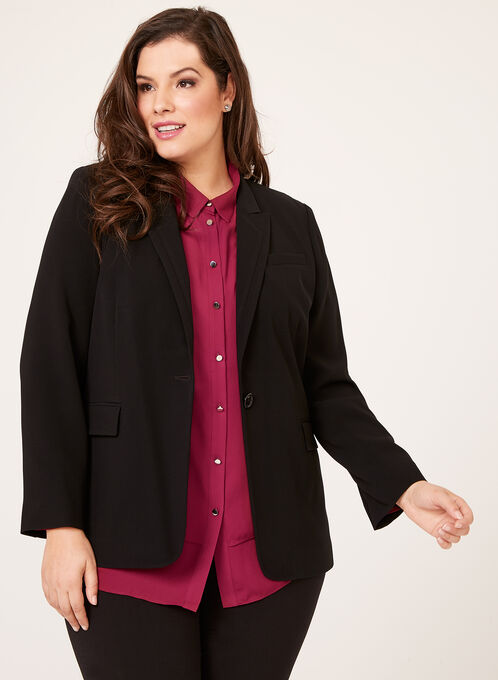 Louben - Single Button Stitched Collar Blazer, Black, hi-res