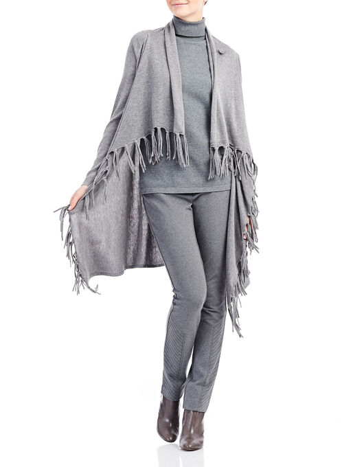 Drape Neck Fringe Cardigan , Grey, hi-res