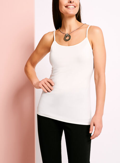 Sleeveless Scoop Neck Camisole, Off White, hi-res