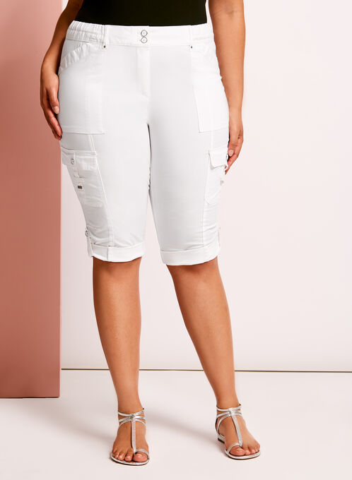 Modern Fit Capri Cargo Pants, White, hi-res