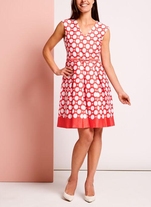 Dot Print Belted Cotton Sateen Dresss, Orange, hi-res