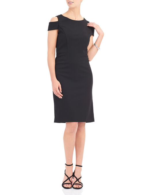 Cold Shoulder Stretch Crepe Dress, Black, hi-res