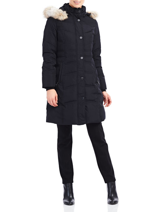 Novelti Chevron Stitch Down Coat, Black, hi-res