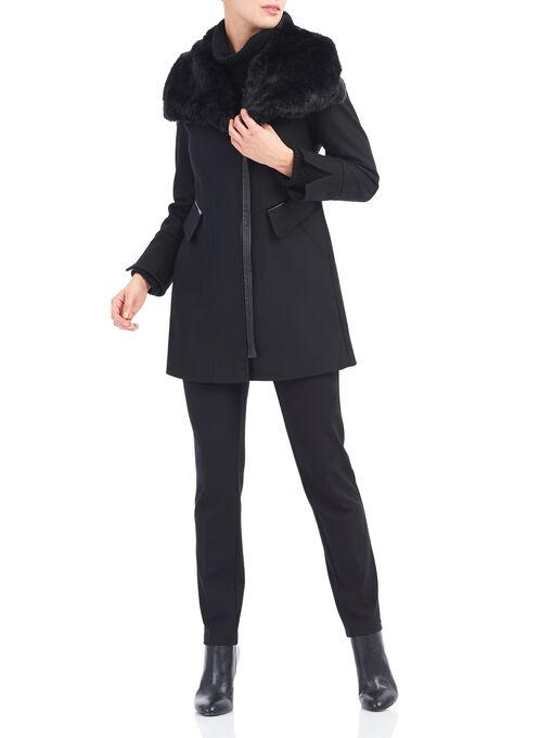 Via Spiga Wool & Faux Fur Coat, Black, hi-res
