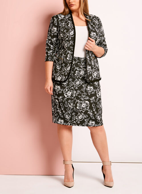 Bengaline Abstract Print Blazer, Black, hi-res