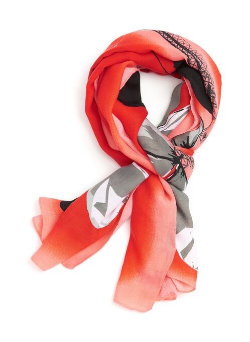 Oblong Butterfly Print Scarf, Red, hi-res