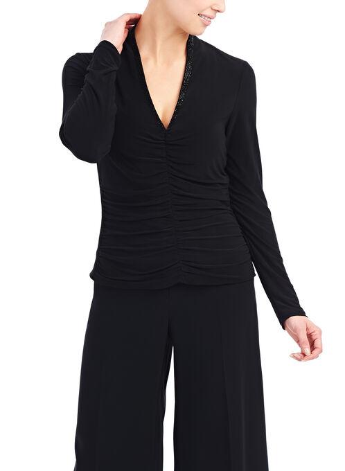 Beaded Neckline Shirred Top, Black, hi-res