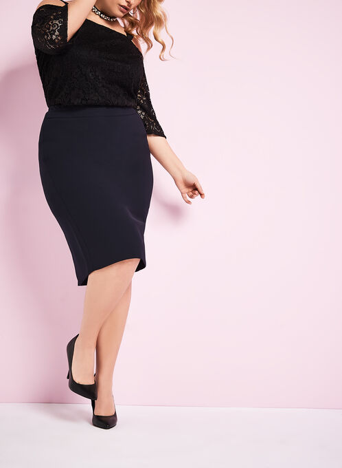Back Slit Pencil Skirt, Blue, hi-res
