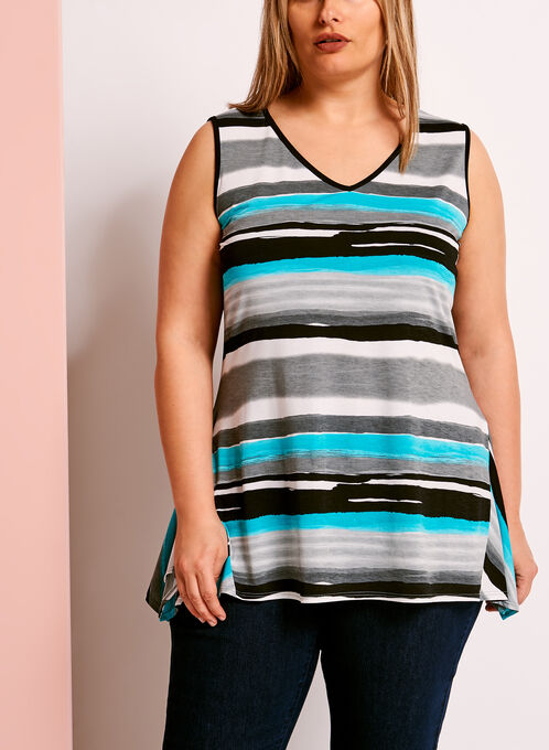 Stripe Print Shark Bite Hem Top, Blue, hi-res