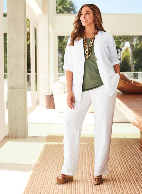 Single Button Linen Blend Jacket, White, hi-res