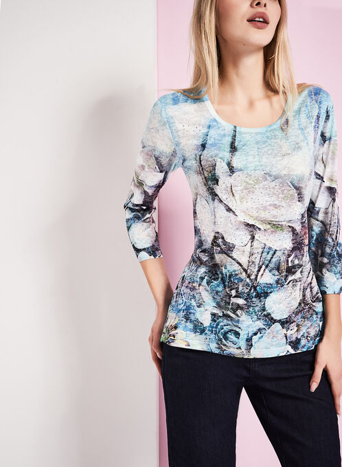 3/4 Sleeve Floral Burnout Top, Blue, hi-res