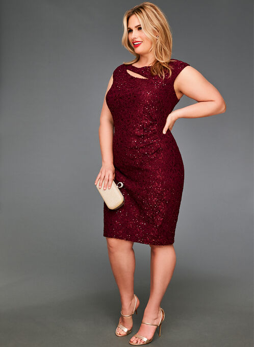 Sequined Lace Cutout Dress , Red, hi-res