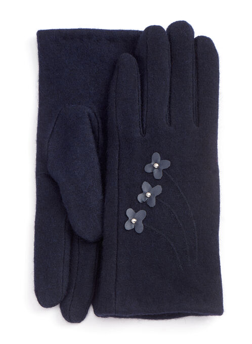 Studded Floral Wool Blend Gloves, Blue, hi-res