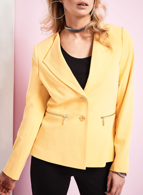 Wing Collar Zipper Trim Blazer, Yellow, hi-res