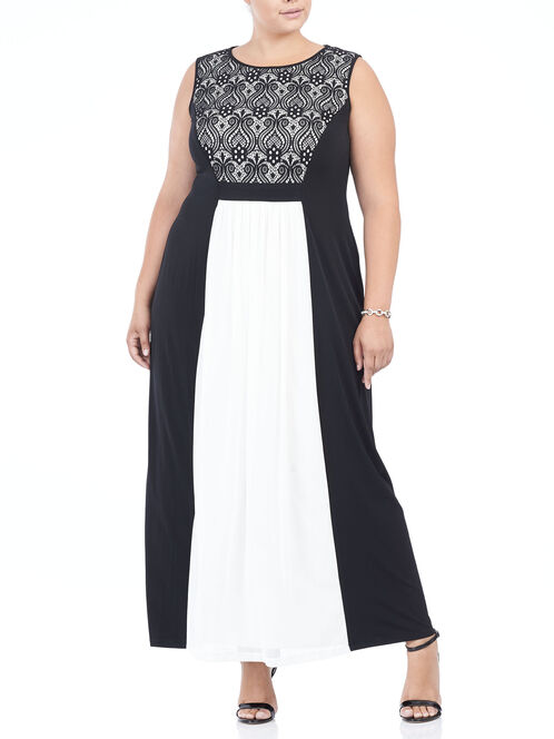 Sleeveless Chiffon & Crochet Gown , Black, hi-res