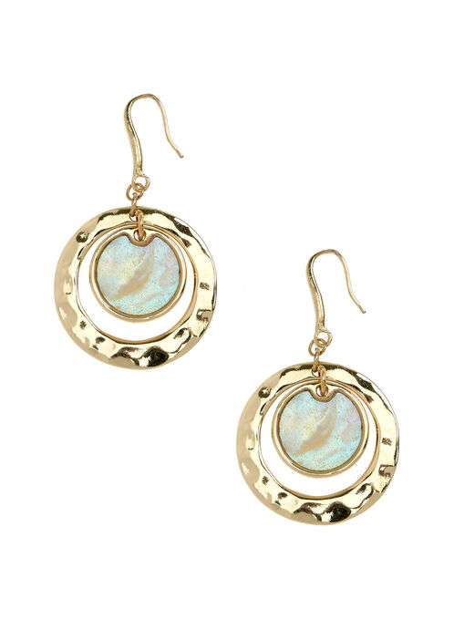 Open Circle Stone Earrings, Off White, hi-res