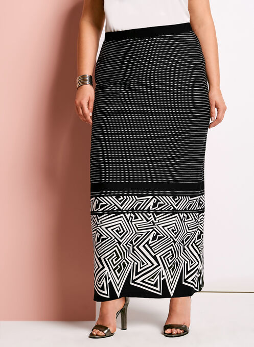 Graphic Print A-Line Maxi Skirt, Black, hi-res