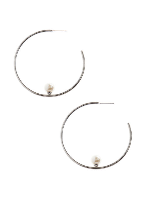 Pearl Center Hoop Earrings, Off White, hi-res