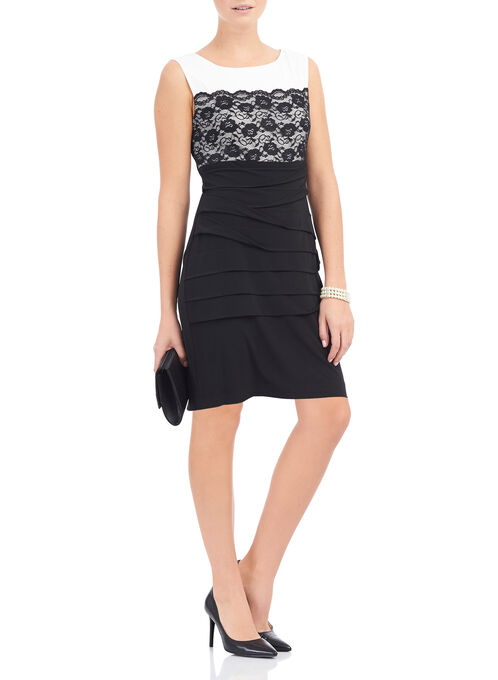 Tiered Jersey & Lace Dress, Black, hi-res