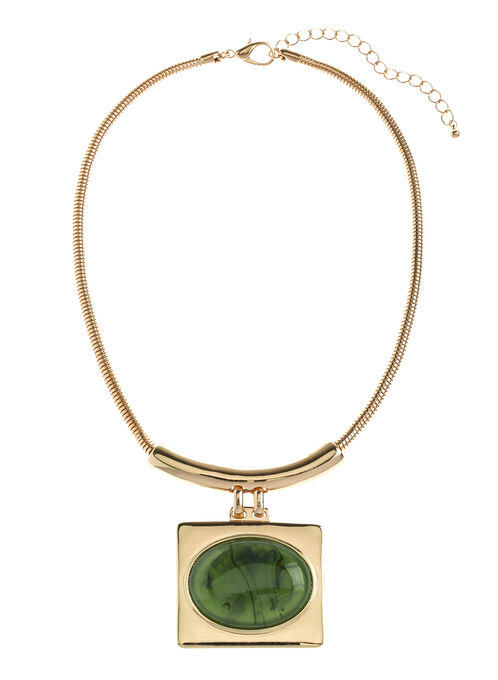 Oval Stone Snake Chain Necklace, Green, hi-res