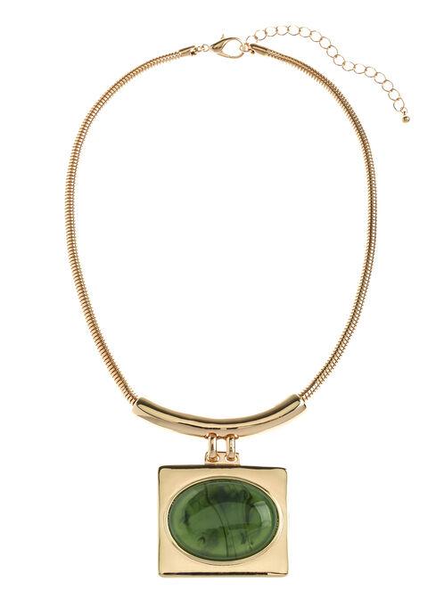 Collier avec chaîne serpentine et pendentif, Vert, hi-res