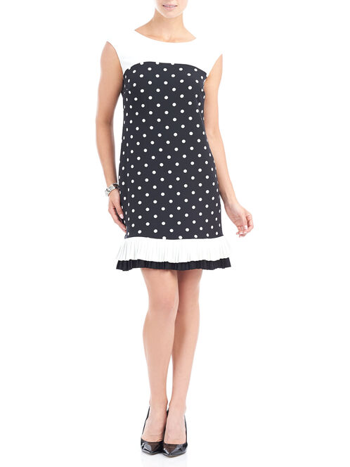Pleated Hem Dot Print Shift Dress, Black, hi-res
