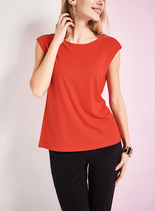 Boat Neck T-Shirt , Red, hi-res