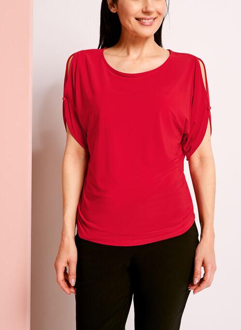Haut épaules dénudées avec bouton, Rouge, hi-res