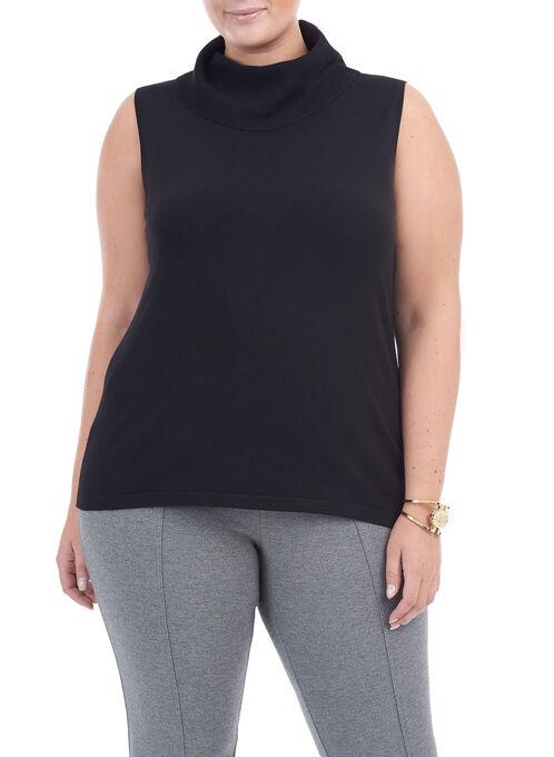 Sleeveless Knit Turtleneck Top, Black, hi-res