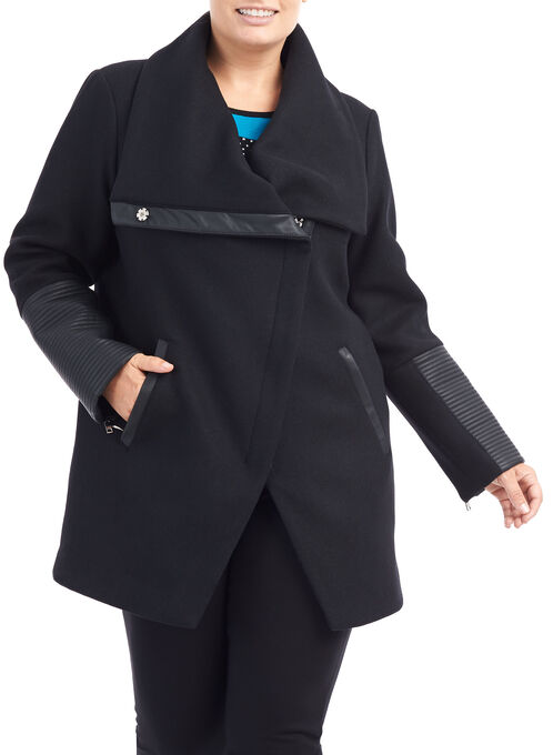 Wool Blend Asymmetrical Jacket, Black, hi-res