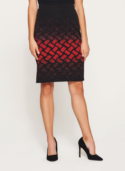 Geometric Print Pencil Skirt, Black, hi-res