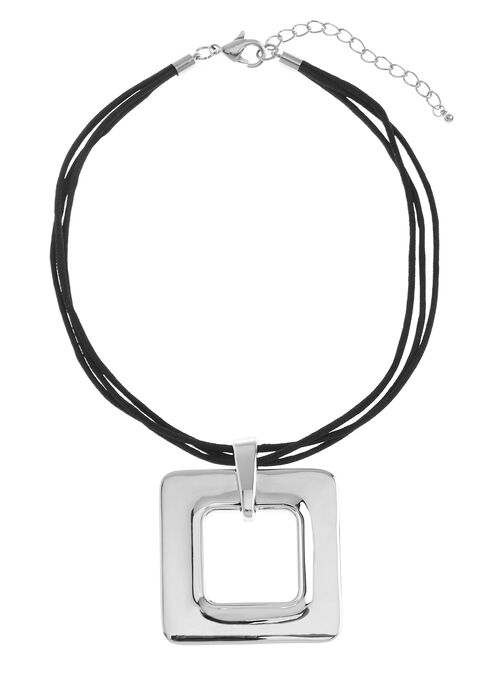 Triple Cord Square Pendant Necklace, Silver, hi-res