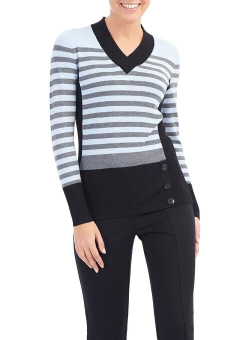 Stripe Print Knit Sweater, Black, hi-res