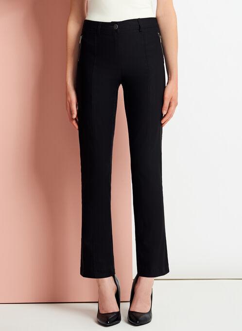 Pantalon 7/8 coupe moderne à jambe droite , Noir, hi-res
