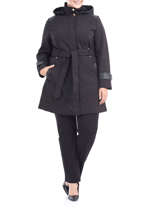 Softshell Belted Jacket, Black, hi-res