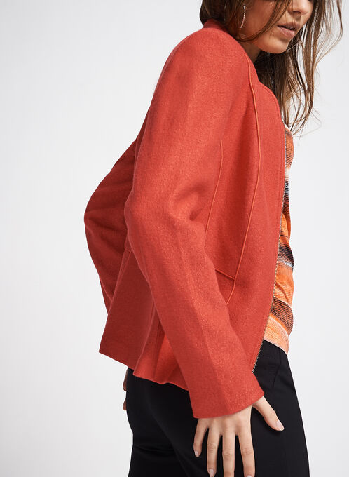 Wool Blend Piping Trim Jacket, Orange, hi-res