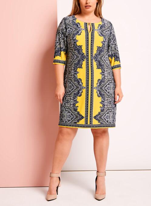 Paisley Print Keyhole Shift Dress, Yellow, hi-res