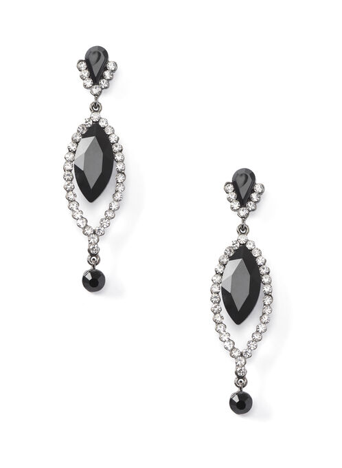 Tiered Dangle Stone Earrings, Black, hi-res