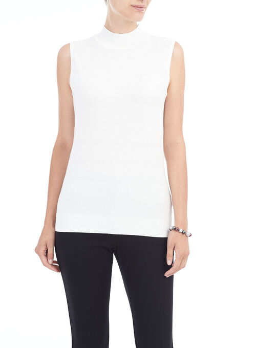 Sleeveless Knit Funnel Neck Top, Off White, hi-res