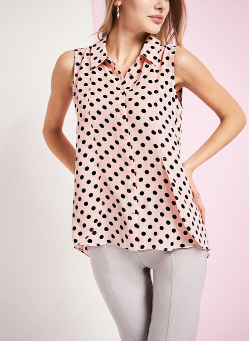 Button Front Dot Print Blouse, Red, hi-res