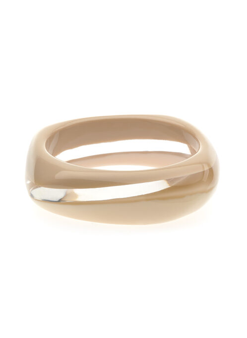 Lucite Rounded Square Bangle, Off White, hi-res