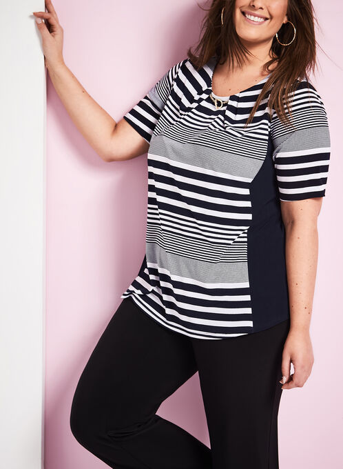 Elbow Sleeve Stripe Print Top, Blue, hi-res